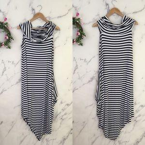 Comfy USA by Sun Kim Striped Cowl Neck Dress.